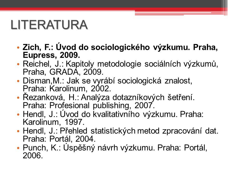 LITERATURA Zich, F.: Úvod do sociologického výzkumu.