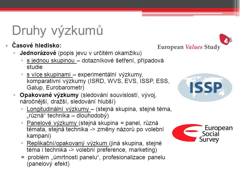 """Druhy výzkumů Časové hledisko: ▫ Jednorázové (popis jevu v určitém okamžiku)  s jednou skupinou – dotazníkové šetření, případová studie  s více skupinami – experimentální výzkumy, komparativní výzkumy (ISRD, WVS, EVS, ISSP, ESS, Galup, Eurobarometr) ▫ Opakované výzkumy (sledování souvislostí, vývoj, náročnější, dražší, sledování hlubší)  Longitudinální výzkumy – (stejná skupina, stejné téma, """"různá technika – dlouhodobý)  Panelové výzkumy (stejná skupina = panel, různá témata, stejná technika -> změny názorů po volební kampani)  Replikační/opakovaný výzkum (jiná skupina, stejné téma i technika -> volební preference, marketing) = problém """"úmrtnosti panelu , profesionalizace panelu (panelový efekt)"""