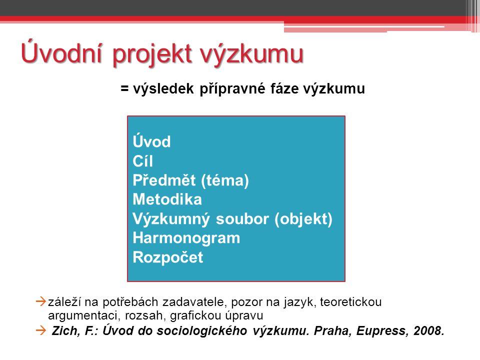 Úvodní projekt výzkumu = výsledek přípravné fáze výzkumu  záleží na potřebách zadavatele, pozor na jazyk, teoretickou argumentaci, rozsah, grafickou úpravu  Zich, F.: Úvod do sociologického výzkumu.