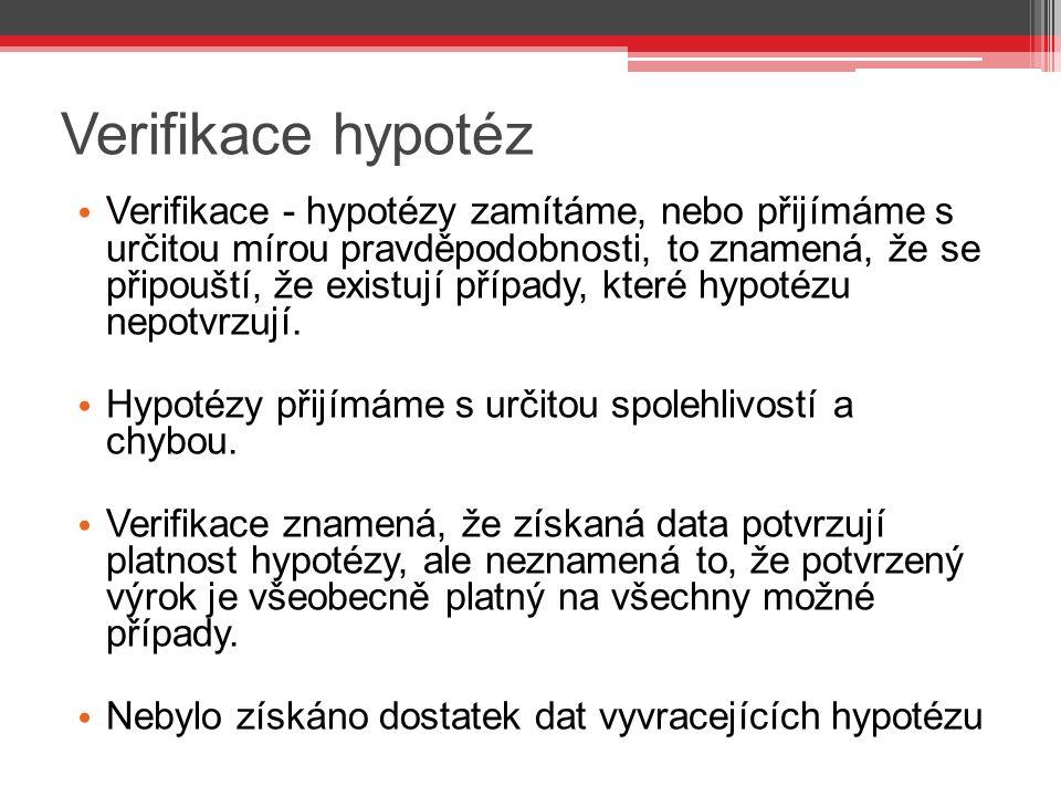 Verifikace hypotéz Verifikace - hypotézy zamítáme, nebo přijímáme s určitou mírou pravděpodobnosti, to znamená, že se připouští, že existují případy, které hypotézu nepotvrzují.
