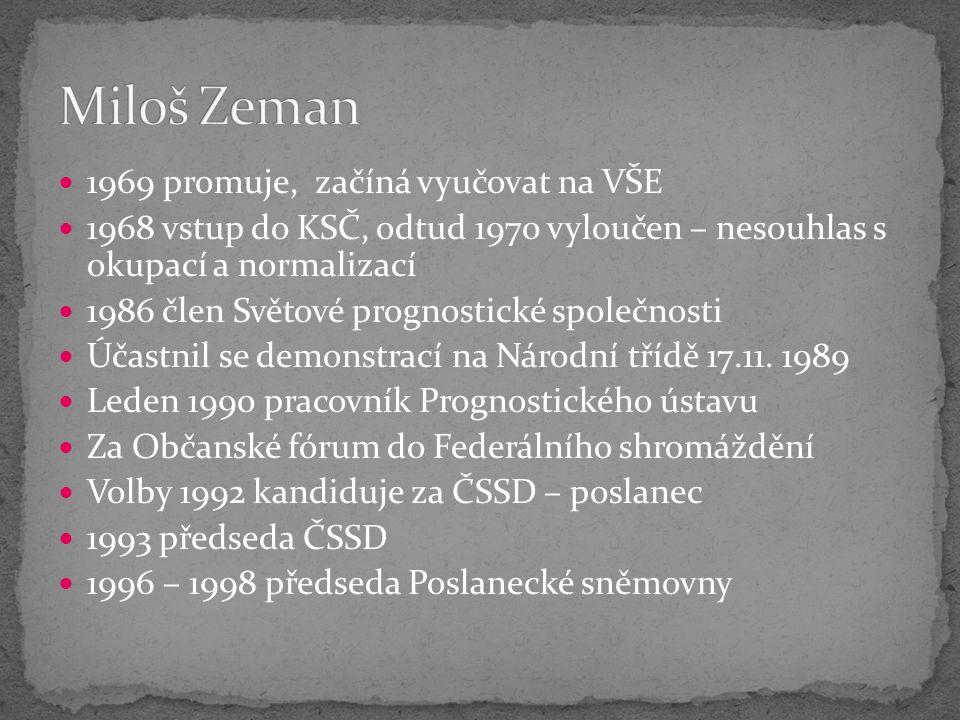 1969 promuje, začíná vyučovat na VŠE 1968 vstup do KSČ, odtud 1970 vyloučen – nesouhlas s okupací a normalizací 1986 člen Světové prognostické společnosti Účastnil se demonstrací na Národní třídě 17.11.