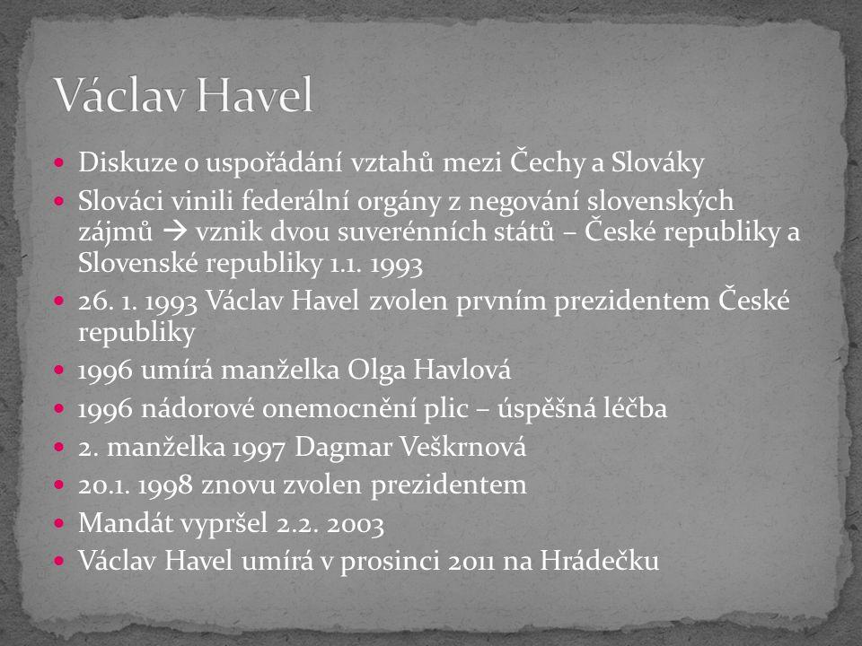 Diskuze o uspořádání vztahů mezi Čechy a Slováky Slováci vinili federální orgány z negování slovenských zájmů  vznik dvou suverénních států – České republiky a Slovenské republiky 1.1.
