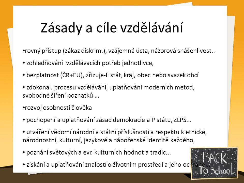 Zásady a cíle vzdělávání rovný přístup (zákaz diskrim.), vzájemná úcta, názorová snášenlivost.. zohledňování vzdělávacích potřeb jednotlivce, bezplatn
