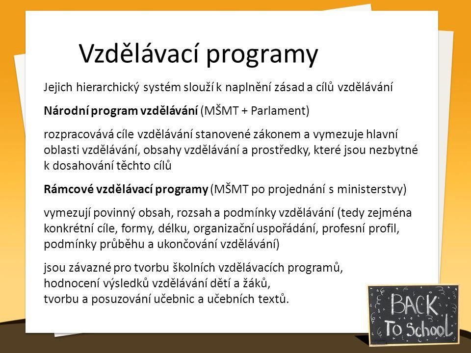 Vzdělávací programy Jejich hierarchický systém slouží k naplnění zásad a cílů vzdělávání Národní program vzdělávání (MŠMT + Parlament) rozpracovává cíle vzdělávání stanovené zákonem a vymezuje hlavní oblasti vzdělávání, obsahy vzdělávání a prostředky, které jsou nezbytné k dosahování těchto cílů Rámcové vzdělávací programy (MŠMT po projednání s ministerstvy) vymezují povinný obsah, rozsah a podmínky vzdělávání (tedy zejména konkrétní cíle, formy, délku, organizační uspořádání, profesní profil, podmínky průběhu a ukončování vzdělávání) jsou závazné pro tvorbu školních vzdělávacích programů, hodnocení výsledků vzdělávání dětí a žáků, tvorbu a posuzování učebnic a učebních textů.
