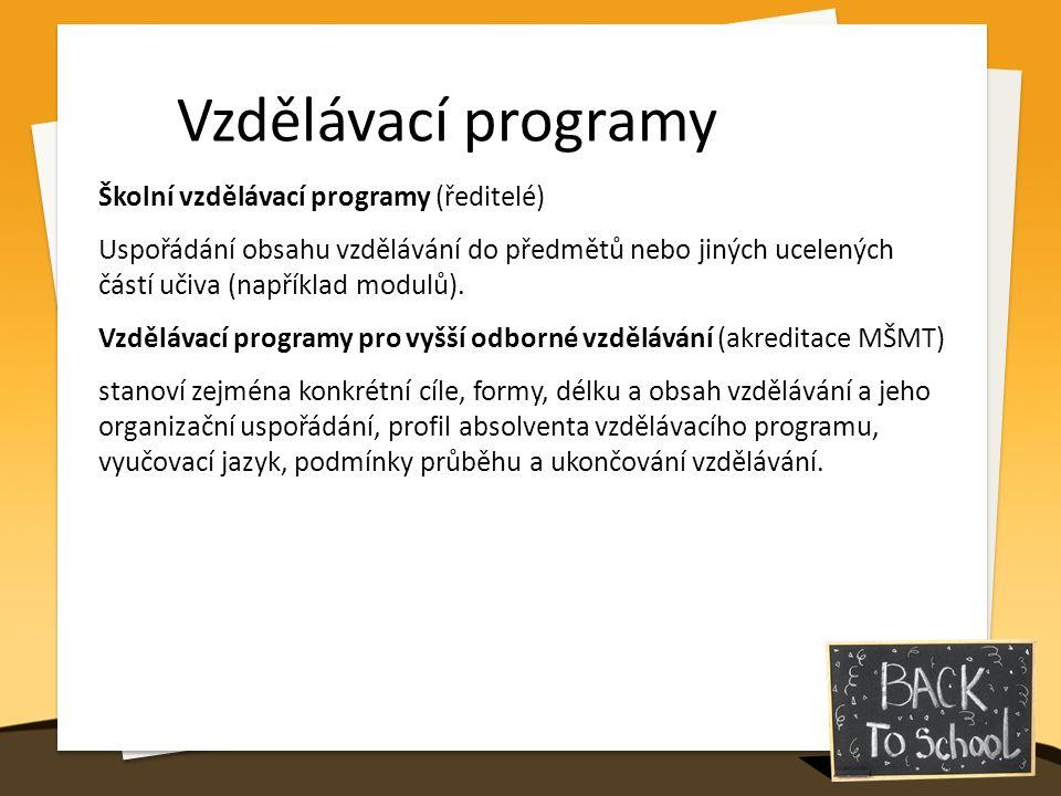 Vzdělávací programy Školní vzdělávací programy (ředitelé) Uspořádání obsahu vzdělávání do předmětů nebo jiných ucelených částí učiva (například modulů).