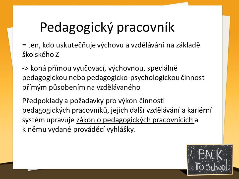 Pedagogický pracovník = ten, kdo uskutečňuje výchovu a vzdělávání na základě školského Z -> koná přímou vyučovací, výchovnou, speciálně pedagogickou nebo pedagogicko-psychologickou činnost přímým působením na vzdělávaného Předpoklady a požadavky pro výkon činnosti pedagogických pracovníků, jejich další vzdělávání a kariérní systém upravuje zákon o pedagogických pracovnících a k němu vydané prováděcí vyhlášky.