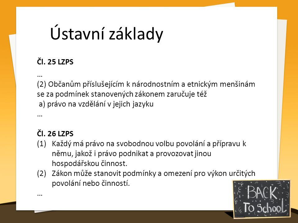 Ústavní základy Čl. 25 LZPS … (2) Občanům příslušejícím k národnostním a etnickým menšinám se za podmínek stanovených zákonem zaručuje též a) právo na