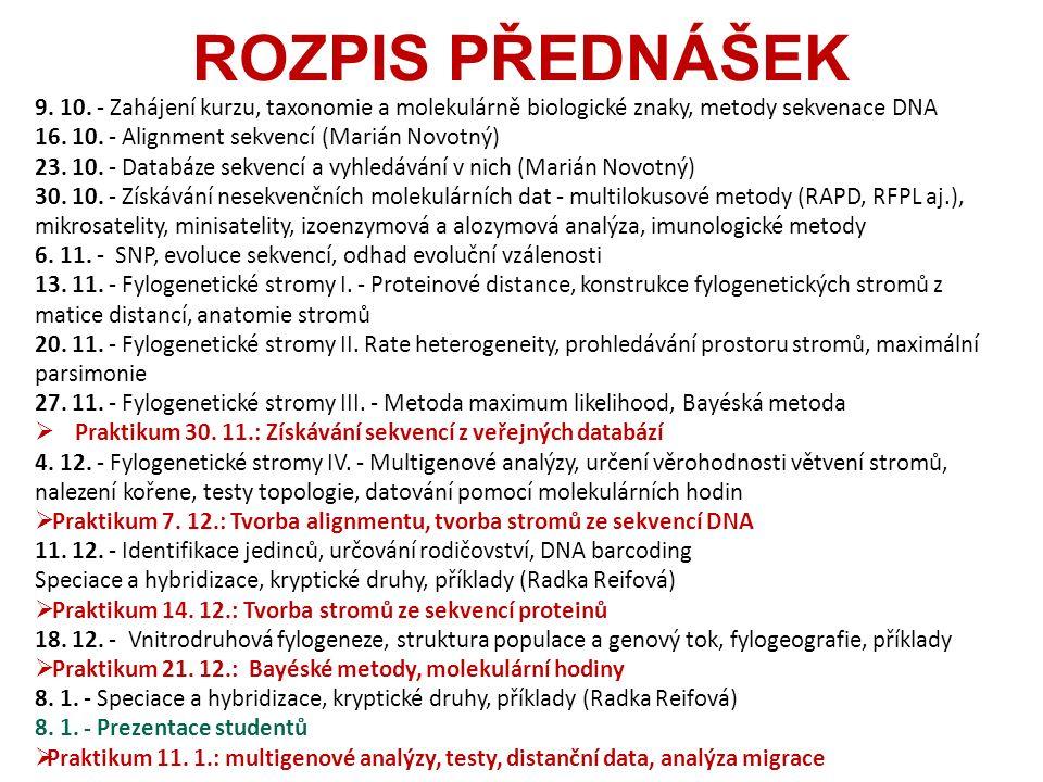 ROZPIS PŘEDNÁŠEK 9. 10.