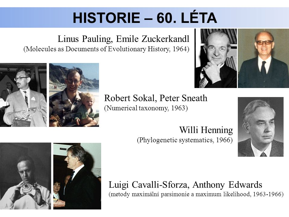 HISTORIE – 60. LÉTA Linus Pauling, Emile Zuckerkandl (Molecules as Documents of Evolutionary History, 1964) Robert Sokal, Peter Sneath (Numerical taxo