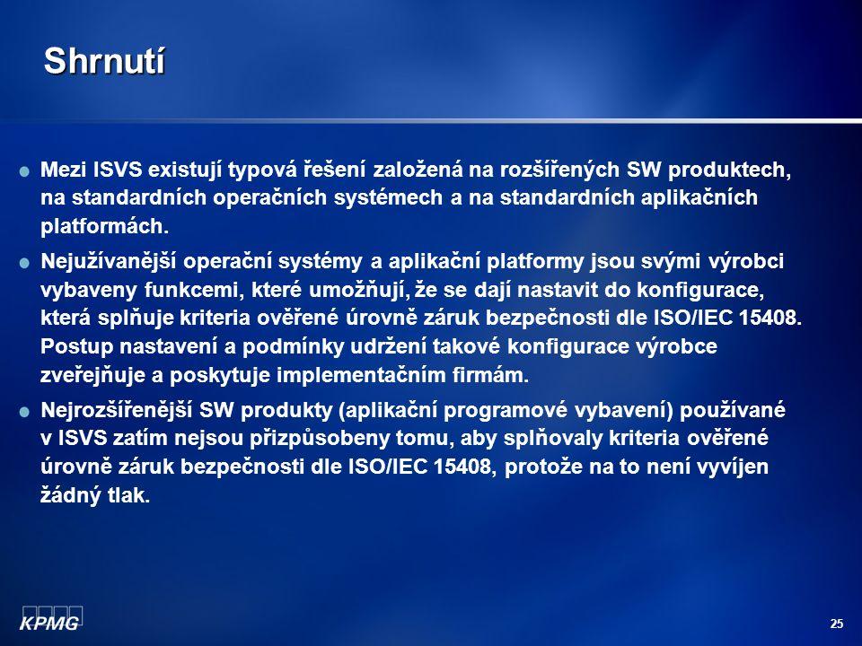 25 Shrnutí Mezi ISVS existují typová řešení založená na rozšířených SW produktech, na standardních operačních systémech a na standardních aplikačních platformách.