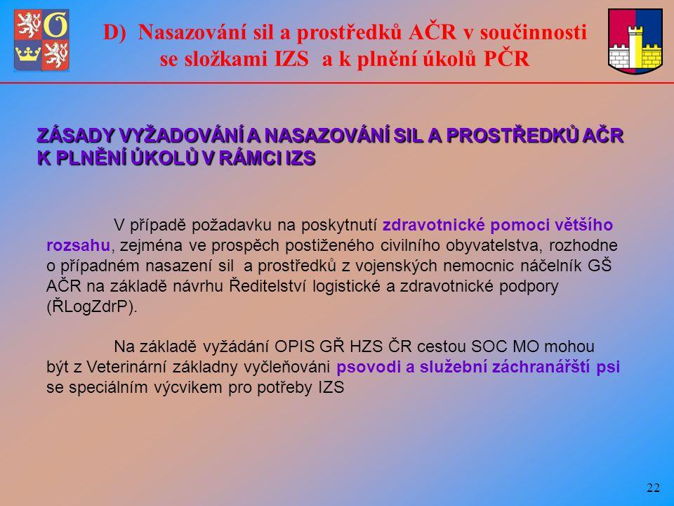 22 D) Nasazování sil a prostředků AČR v součinnosti se složkami IZS a k plnění úkolů PČR V případě požadavku na poskytnutí zdravotnické pomoci většího rozsahu, zejména ve prospěch postiženého civilního obyvatelstva, rozhodne o případném nasazení sil a prostředků z vojenských nemocnic náčelník GŠ AČR na základě návrhu Ředitelství logistické a zdravotnické podpory (ŘLogZdrP).