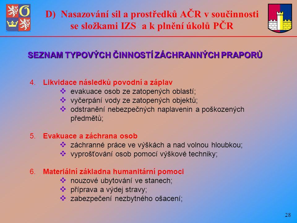 28 D) Nasazování sil a prostředků AČR v součinnosti se složkami IZS a k plnění úkolů PČR 4.