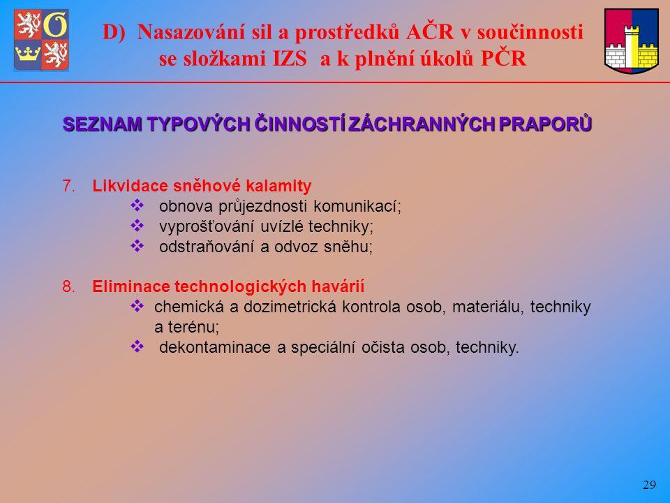 29 D) Nasazování sil a prostředků AČR v součinnosti se složkami IZS a k plnění úkolů PČR SEZNAM TYPOVÝCH ČINNOSTÍ ZÁCHRANNÝCH PRAPORŮ 7.