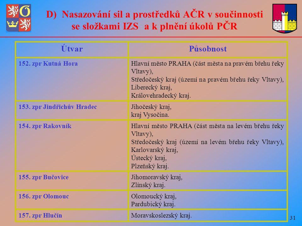 31 D) Nasazování sil a prostředků AČR v součinnosti se složkami IZS a k plnění úkolů PČR ÚtvarPůsobnost 152.