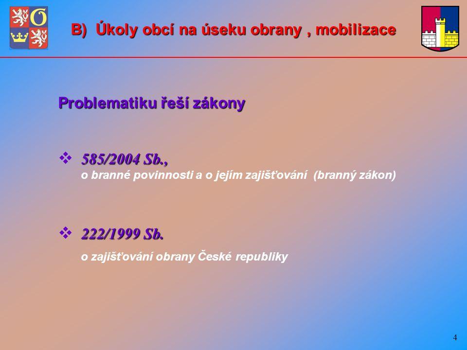 15 D) Nasazování sil a prostředků AČR v součinnosti se složkami IZS a k plnění úkolů PČR Na základě vyžádání oprávněných orgánů, podle § 15 – §19 zákona č.