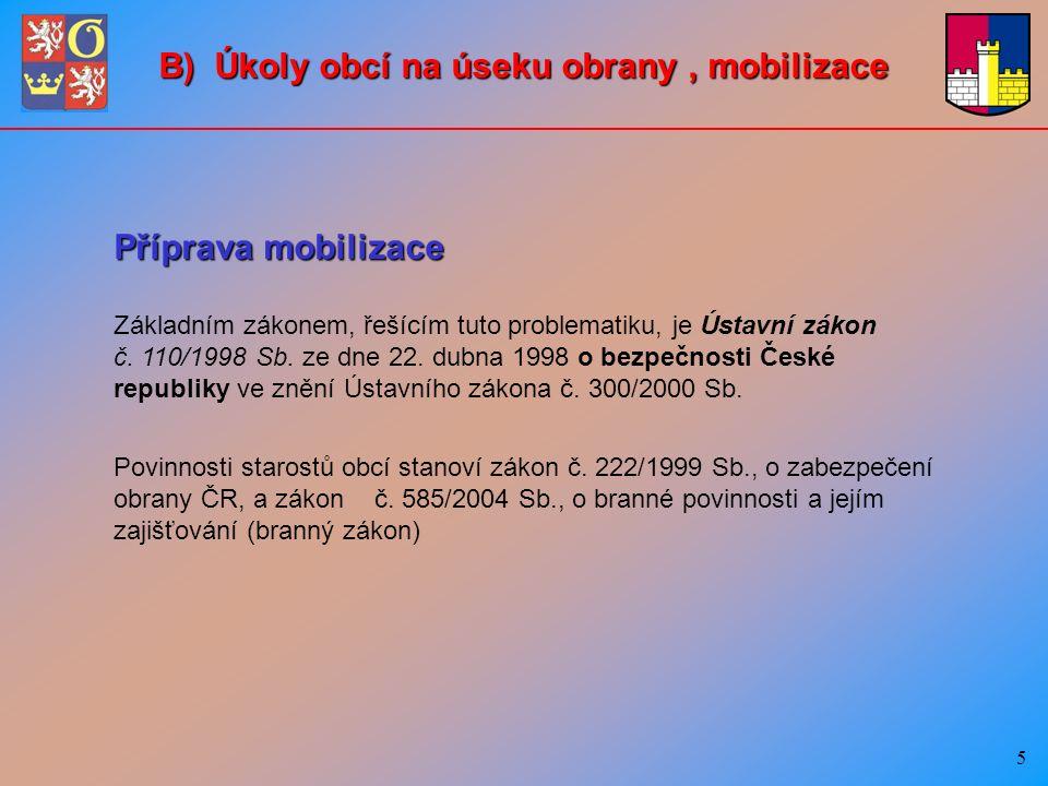 5 Příprava mobilizace Základním zákonem, řešícím tuto problematiku, je Ústavní zákon č.