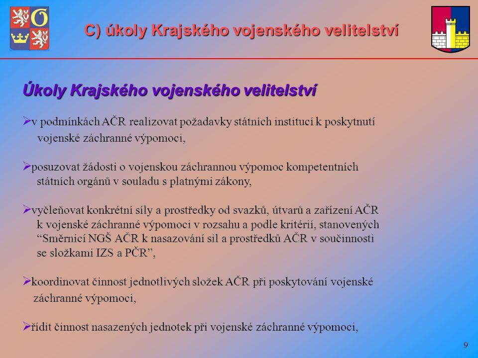 20 D) Nasazování sil a prostředků AČR v součinnosti se složkami IZS a k plnění úkolů PČR Vyžadovat použití vojenské techniky s nezbytně nutnou obsluhou k odstraňování jiného hrozícího nebezpečí mohou příslušní vedoucí správních úřadů, orgánů územní samosprávy, právnických osob nebo požární ochrany pokud příslušné správní úřady, orgány územní samosprávy, právnické osoby, požární ochrana nebo vojenské záchranné útvary (VZÚ) nemají potřebnou techniku k odstranění takového ohrožení.