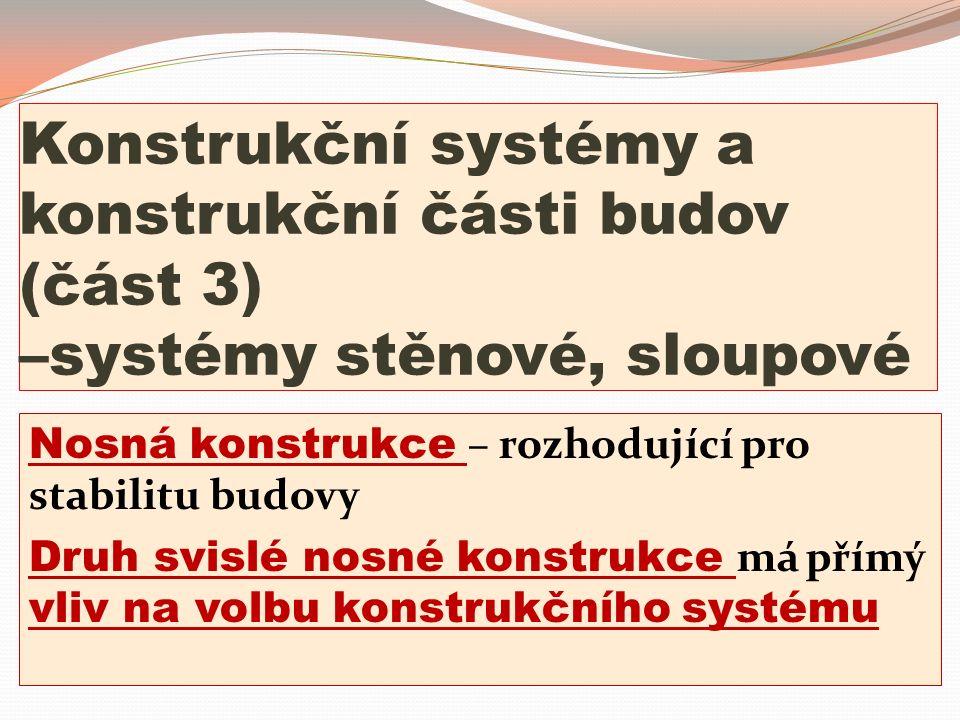 Konstrukční systémy a konstrukční části budov (část 3) –systémy stěnové, sloupové Nosná konstrukce – rozhodující pro stabilitu budovy Druh svislé nosn