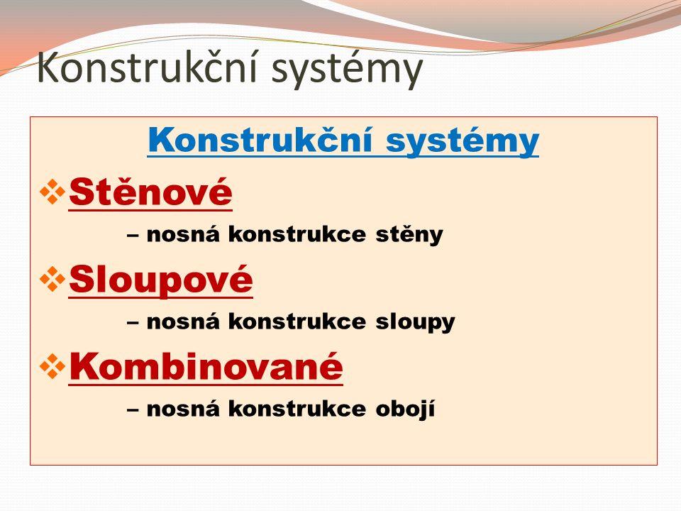 Konstrukční systémy  Stěnové – nosná konstrukce stěny  Sloupové – nosná konstrukce sloupy  Kombinované – nosná konstrukce obojí