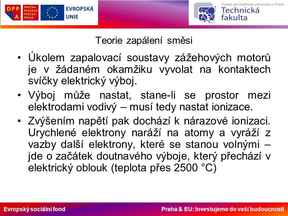 Evropský sociální fond Praha & EU: Investujeme do vaší budoucnosti Teorie zapálení směsi Úkolem zapalovací soustavy zážehových motorů je v žádaném okamžiku vyvolat na kontaktech svíčky elektrický výboj.
