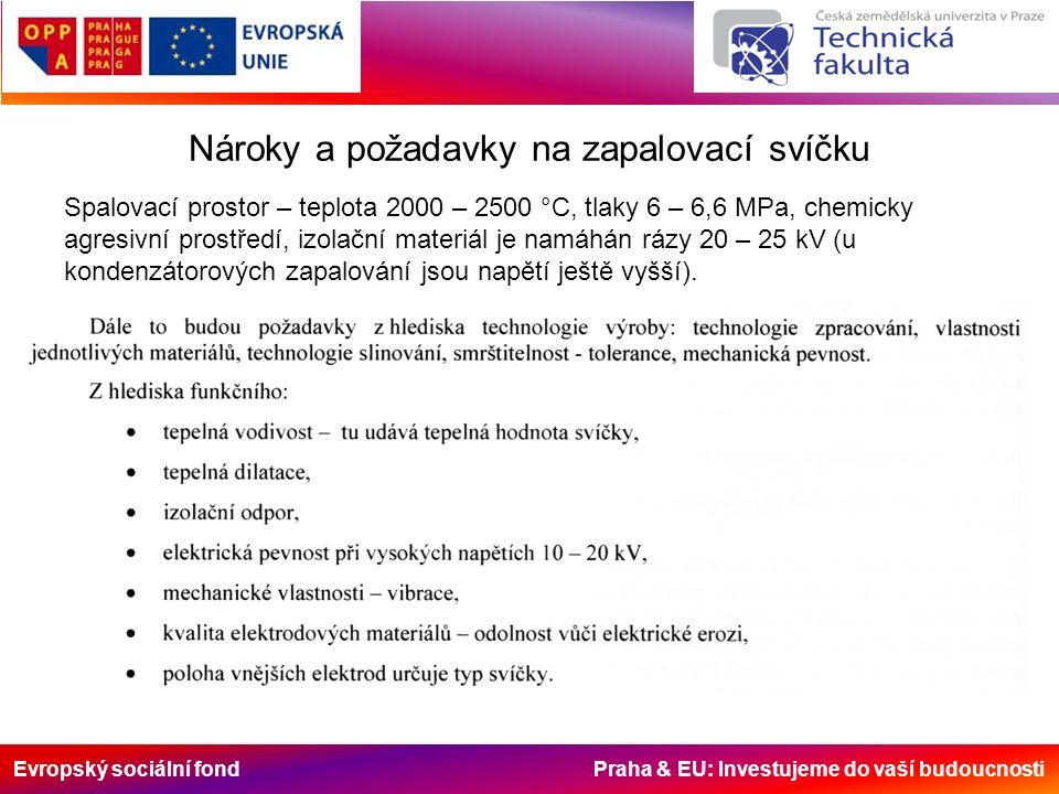 Evropský sociální fond Praha & EU: Investujeme do vaší budoucnosti Nároky a požadavky na zapalovací svíčku Spalovací prostor – teplota 2000 – 2500 °C, tlaky 6 – 6,6 MPa, chemicky agresivní prostředí, izolační materiál je namáhán rázy 20 – 25 kV (u kondenzátorových zapalování jsou napětí ještě vyšší).