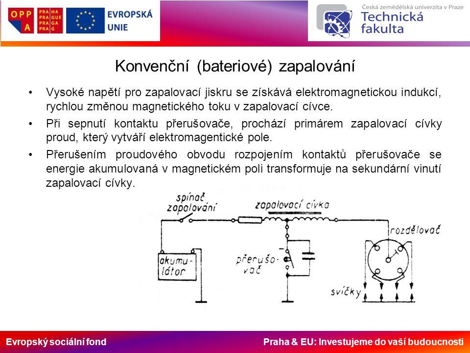 Evropský sociální fond Praha & EU: Investujeme do vaší budoucnosti Konvenční (bateriové) zapalování Vysoké napětí pro zapalovací jiskru se získává elektromagnetickou indukcí, rychlou změnou magnetického toku v zapalovací cívce.