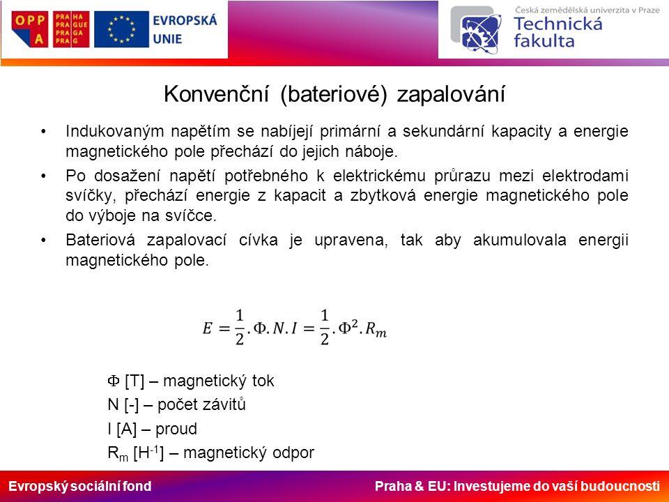 Evropský sociální fond Praha & EU: Investujeme do vaší budoucnosti Konvenční (bateriové) zapalování Indukovaným napětím se nabíjejí primární a sekundární kapacity a energie magnetického pole přechází do jejich náboje.