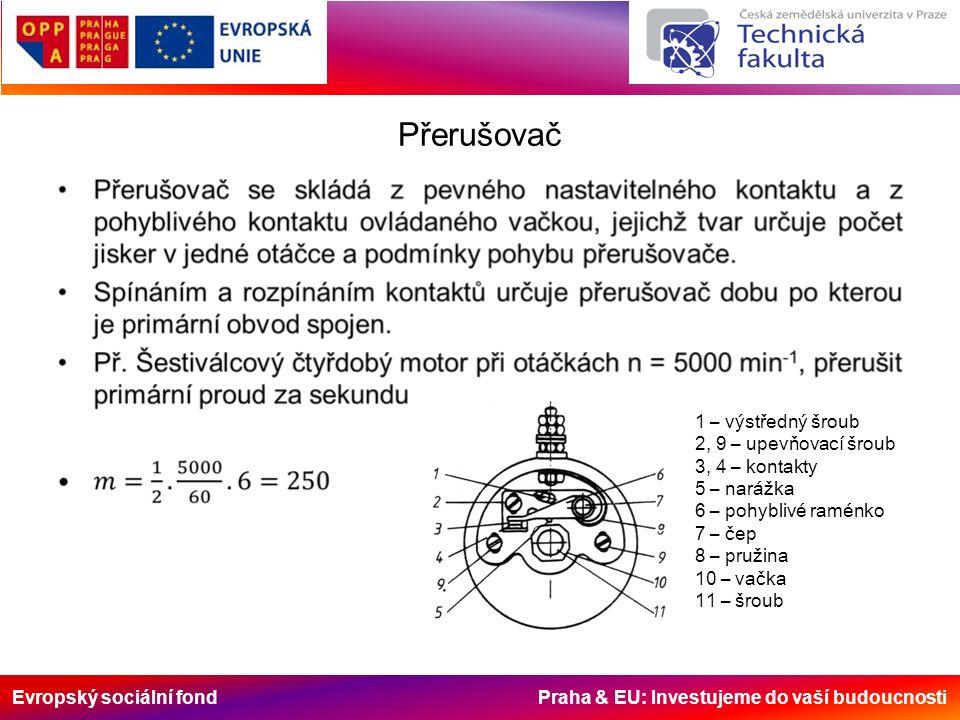Evropský sociální fond Praha & EU: Investujeme do vaší budoucnosti Přerušovač 1 – výstředný šroub 2, 9 – upevňovací šroub 3, 4 – kontakty 5 – narážka 6 – pohyblivé raménko 7 – čep 8 – pružina 10 – vačka 11 – šroub