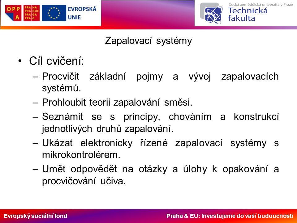 Evropský sociální fond Praha & EU: Investujeme do vaší budoucnosti Zapalovací systémy Cíl cvičení: –Procvičit základní pojmy a vývoj zapalovacích systémů.