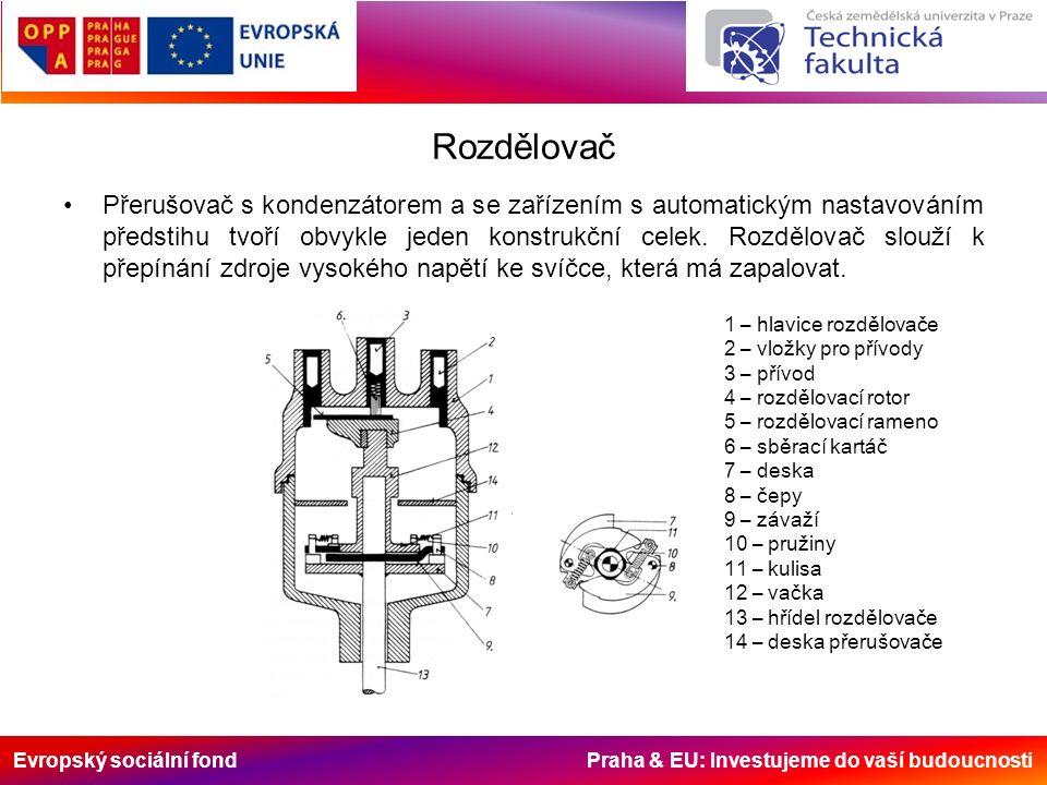 Evropský sociální fond Praha & EU: Investujeme do vaší budoucnosti Rozdělovač Přerušovač s kondenzátorem a se zařízením s automatickým nastavováním předstihu tvoří obvykle jeden konstrukční celek.
