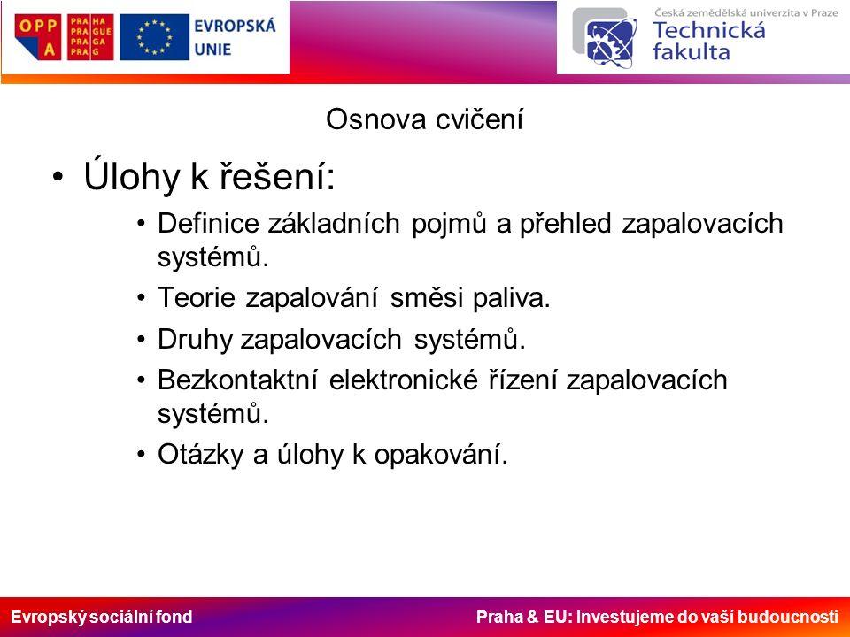 Evropský sociální fond Praha & EU: Investujeme do vaší budoucnosti Osnova cvičení Úlohy k řešení: Definice základních pojmů a přehled zapalovacích systémů.