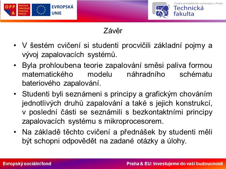 Evropský sociální fond Praha & EU: Investujeme do vaší budoucnosti Závěr V šestém cvičení si studenti procvičili základní pojmy a vývoj zapalovacích systémů.