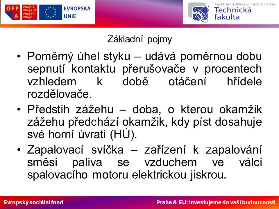 Evropský sociální fond Praha & EU: Investujeme do vaší budoucnosti Základní pojmy Poměrný úhel styku – udává poměrnou dobu sepnutí kontaktu přerušovače v procentech vzhledem k době otáčení hřídele rozdělovače.