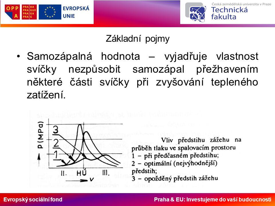Evropský sociální fond Praha & EU: Investujeme do vaší budoucnosti Základní pojmy Samozápalná hodnota – vyjadřuje vlastnost svíčky nezpůsobit samozápal přežhavením některé části svíčky při zvyšování tepleného zatížení.
