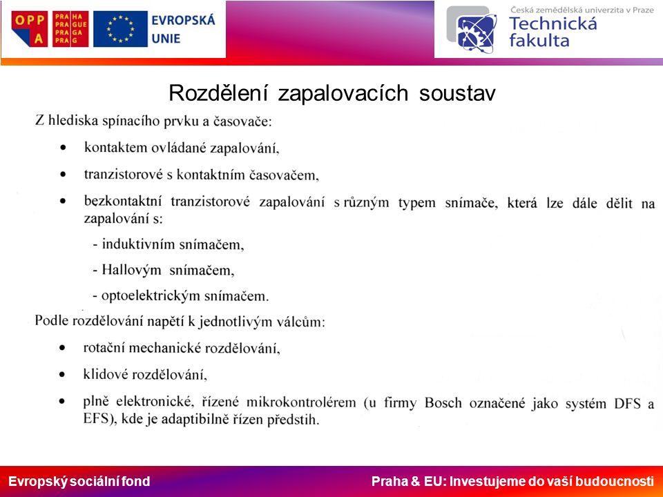 Evropský sociální fond Praha & EU: Investujeme do vaší budoucnosti Rozdělení zapalovacích soustav