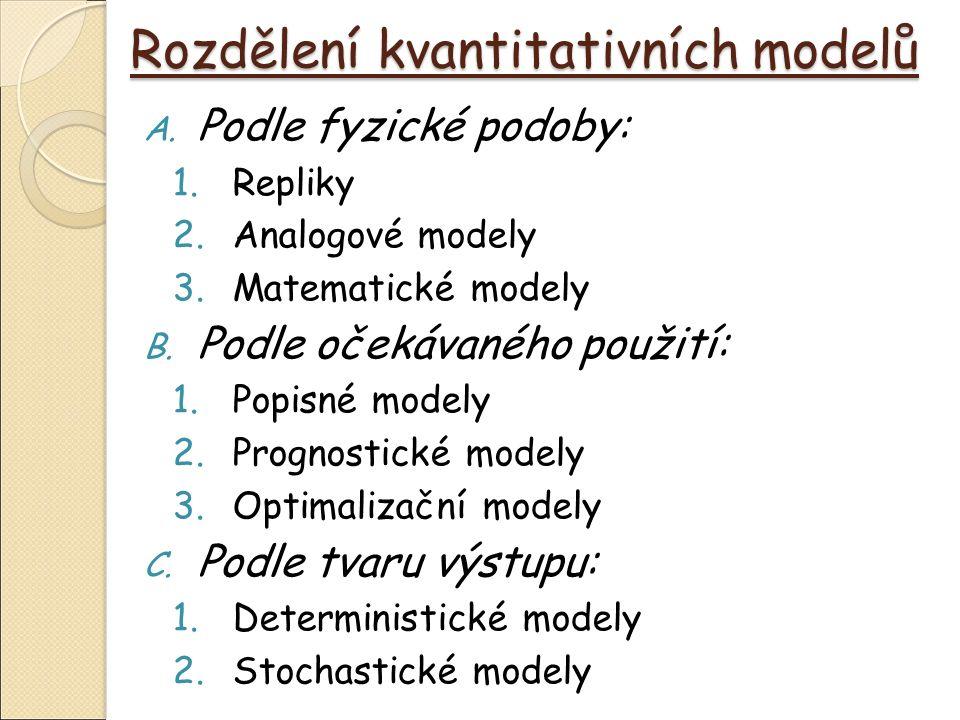 Rozdělení kvantitativních modelů A.