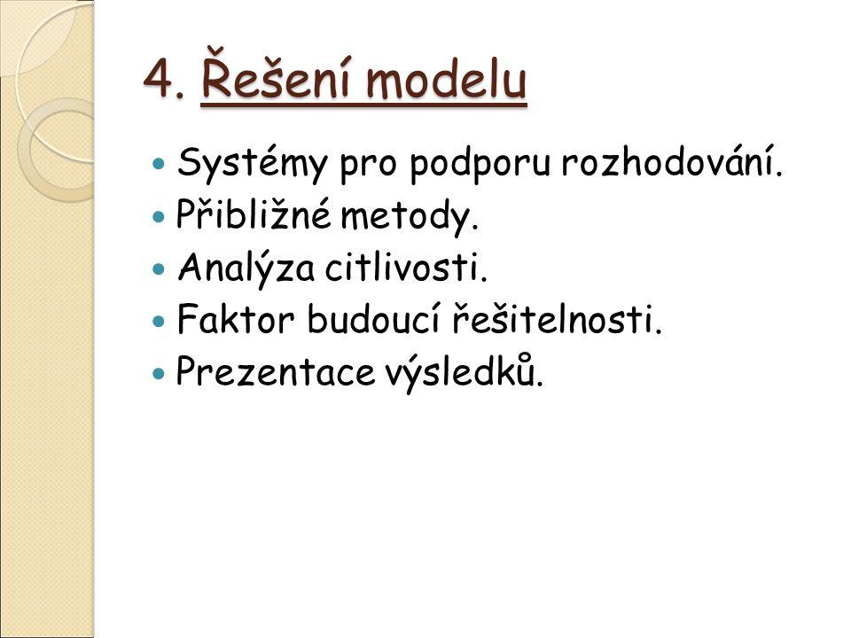 4. Řešení modelu Systémy pro podporu rozhodování.