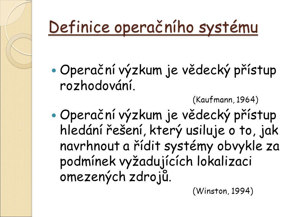 Definice operačního systému Operační výzkum je soubor relativně samostatných disciplín zaměřených na analýzu různých typů rozhodovacích situací.