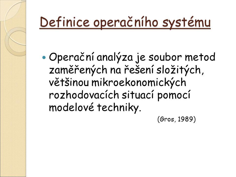 Definice operačního systému Operační analýza je soubor metod zaměřených na řešení složitých, většinou mikroekonomických rozhodovacích situací pomocí modelové techniky.