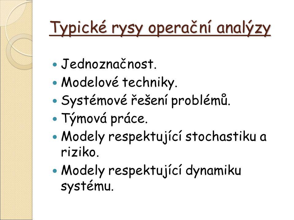 Typické rysy operační analýzy Jednoznačnost. Modelové techniky.