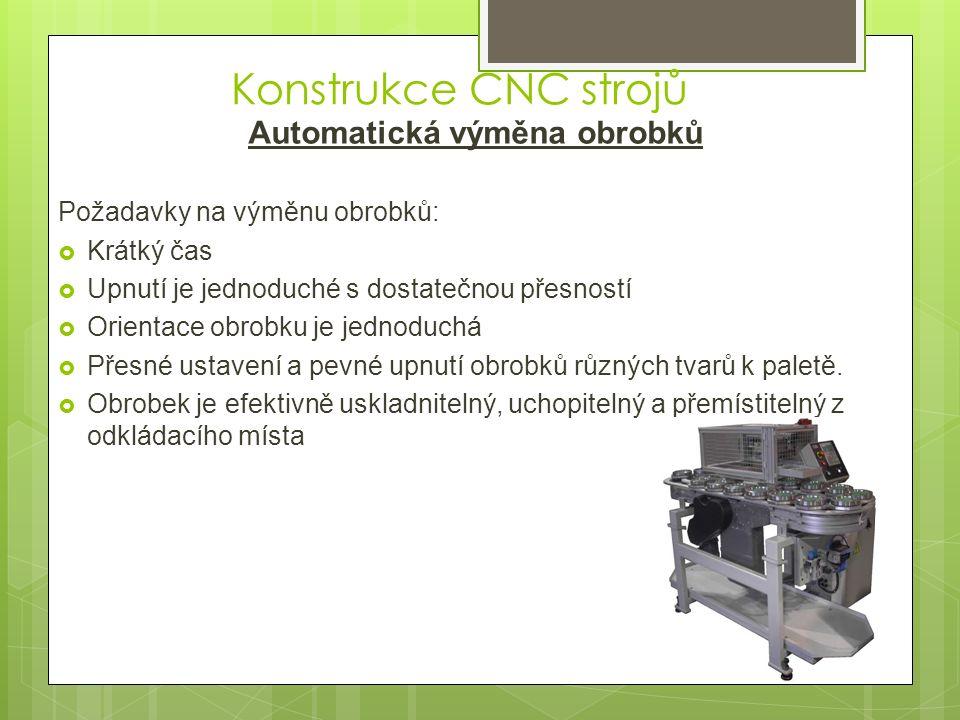 Automatická výměna obrobků technologická paleta - hladká - závitové otvory - T- drážky výměník - robot - otočný - řetěz - šroub - válec zásobník - odkládací místo - regál - otočný stůl upínací základ palety - upínací čepy - T vedení - středící a unašecí čepy