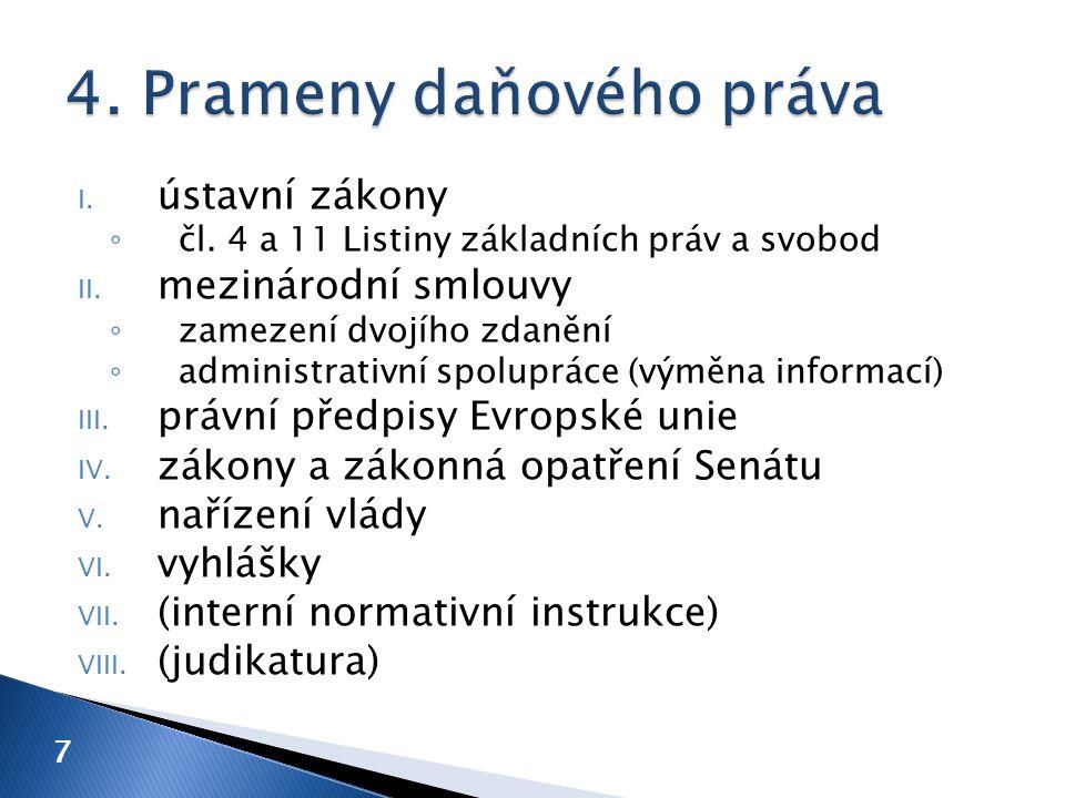 I. ústavní zákony ◦ čl. 4 a 11 Listiny základních práv a svobod II.