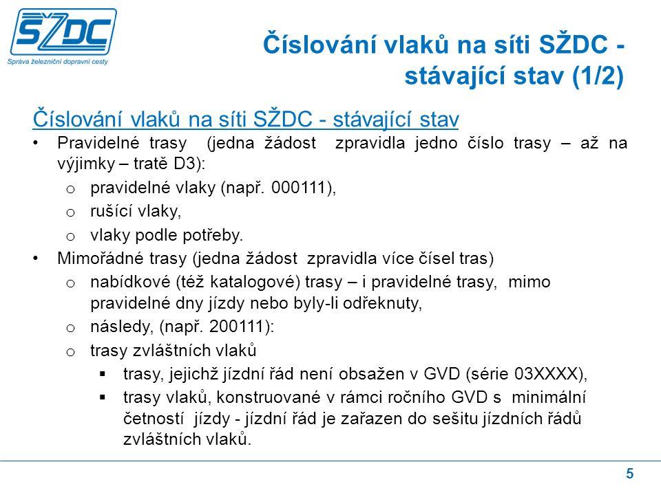 5 Číslování vlaků na síti SŽDC - stávající stav Pravidelné trasy (jedna žádost zpravidla jedno číslo trasy – až na výjimky – tratě D3): o pravidelné vlaky (např.
