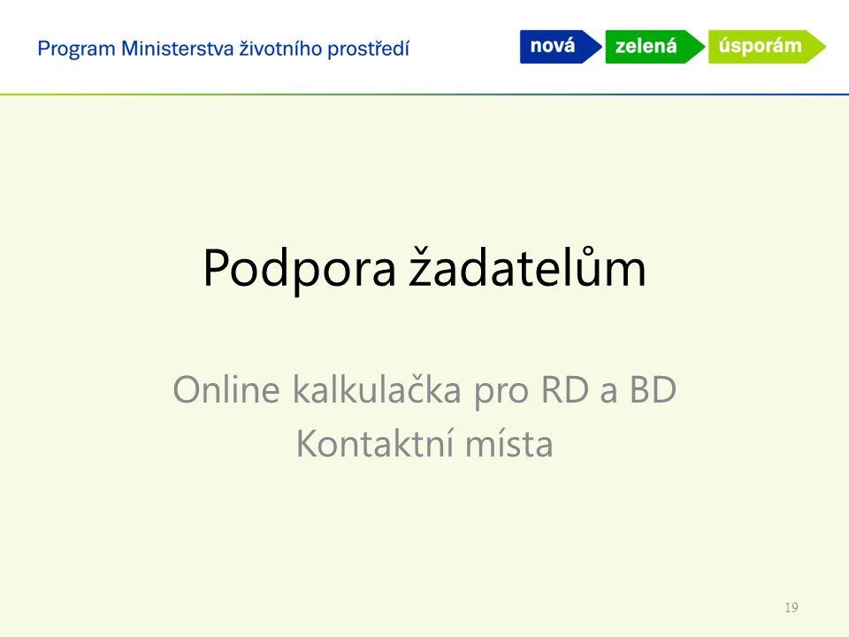 Podpora žadatelům Online kalkulačka pro RD a BD Kontaktní místa 19