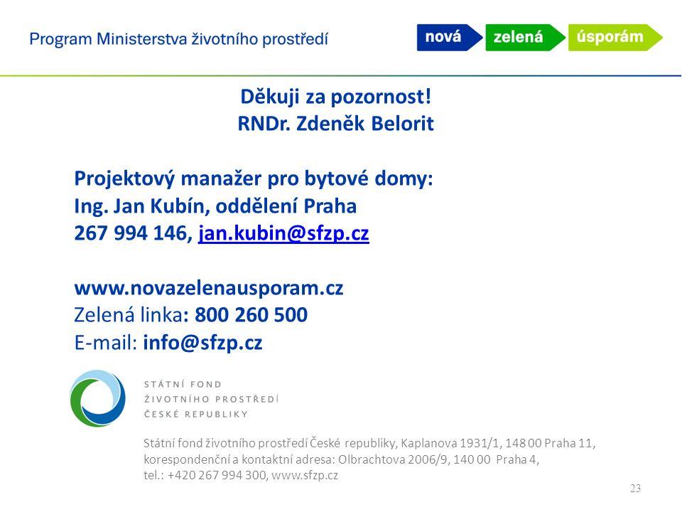 Státní fond životního prostředí České republiky, Kaplanova 1931/1, 148 00 Praha 11, korespondenční a kontaktní adresa: Olbrachtova 2006/9, 140 00 Praha 4, tel.: +420 267 994 300, www.sfzp.cz Děkuji za pozornost.