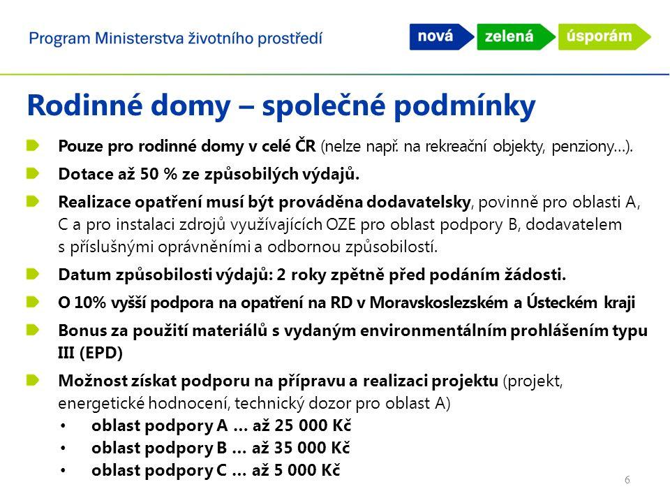 Rodinné domy – společné podmínky Pouze pro rodinné domy v celé ČR (nelze např.