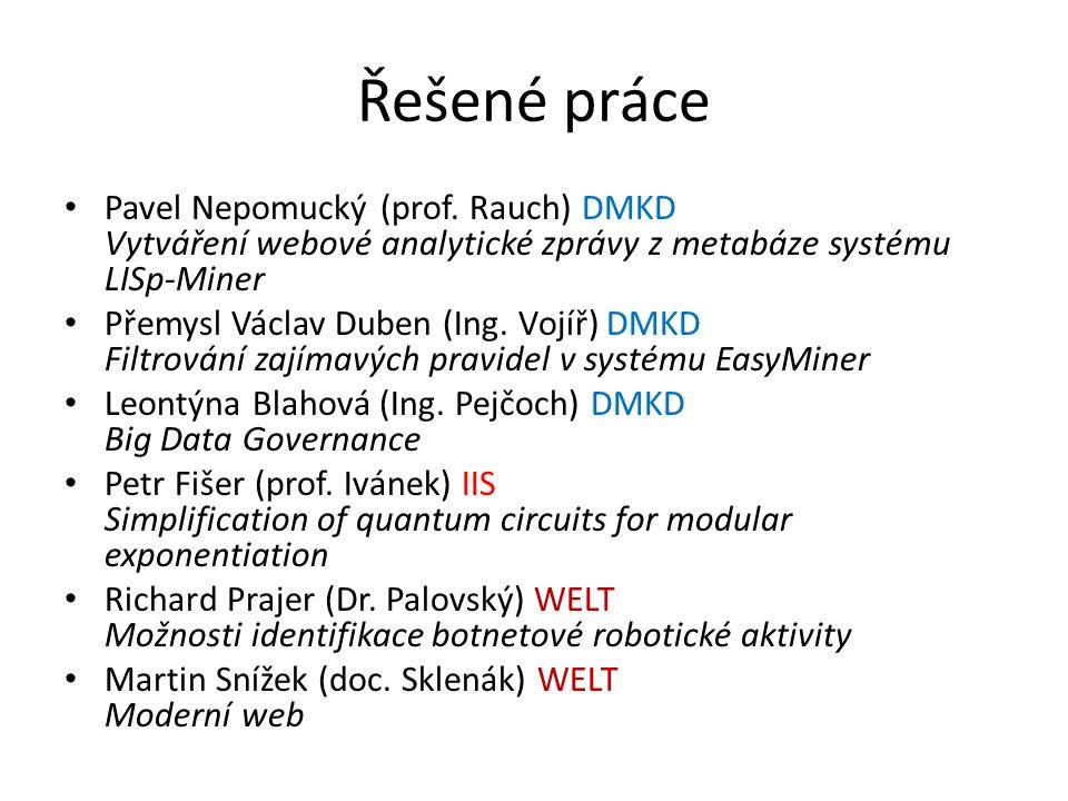 Řešené práce Pavel Nepomucký (prof. Rauch) DMKD Vytváření webové analytické zprávy z metabáze systému LISp-Miner Přemysl Václav Duben (Ing. Vojíř) DMK