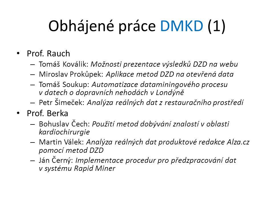 Obhájené práce DMKD (1) Prof. Rauch – Tomáš Koválik: Možnosti prezentace výsledků DZD na webu – Miroslav Prokůpek: Aplikace metod DZD na otevřená data
