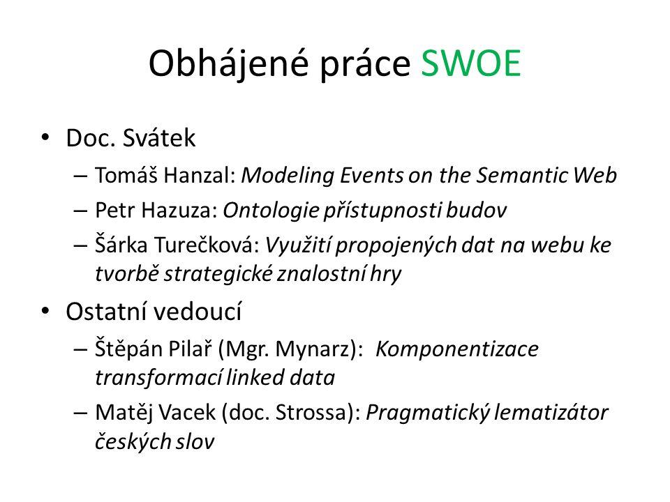 Obhájené práce SWOE Doc. Svátek – Tomáš Hanzal: Modeling Events on the Semantic Web – Petr Hazuza: Ontologie přístupnosti budov – Šárka Turečková: Vyu