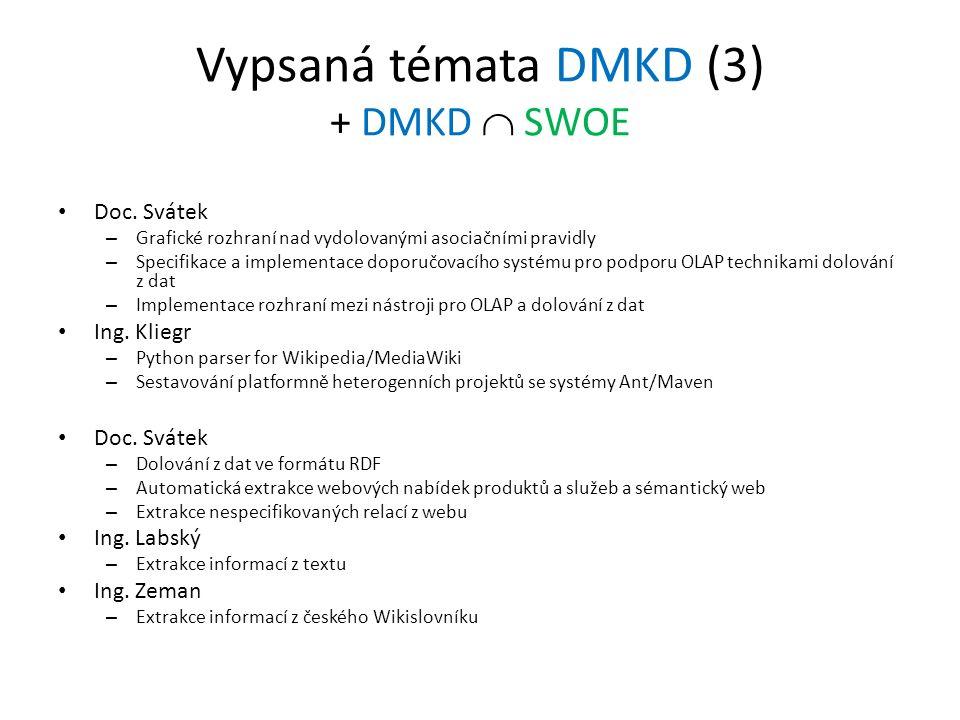 Vypsaná témata DMKD (3) + DMKD  SWOE Doc. Svátek – Grafické rozhraní nad vydolovanými asociačními pravidly – Specifikace a implementace doporučovacíh